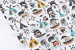 Лоскут ткани с маленькими индейцами и голубыми вигвамами на белом фоне (№3343), размер 33*80 см, фото 4