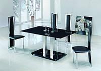 Стеклянный обеденный стол Аврора черный