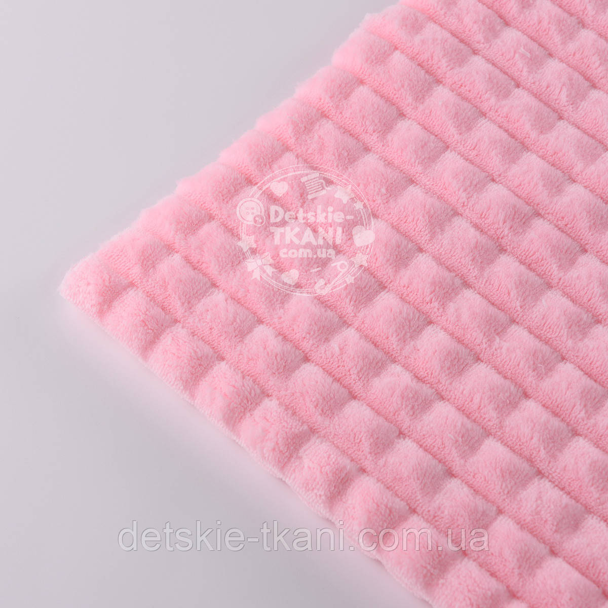 "Лоскут плюша ""Пирамидки"", розового цвета (М-007), размер 150*65 см"