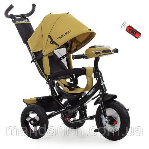 Детский Трехколесный велосипед-коляска с фарой USB Турбо M 3115HA-24 Горчичный