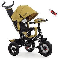 Детский Трехколесный велосипед-коляска с фарой USB Турбо M 3115HA-24 Горчичный, фото 1