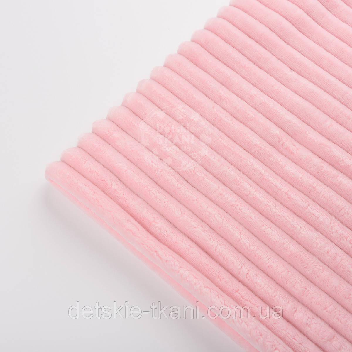 """Клаптик плюшу в смужку """"Stripes"""" світло-рожевого кольору, розмір 50 * 160 см"""