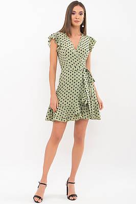 Легкое короткое платье в горох цвета хаки