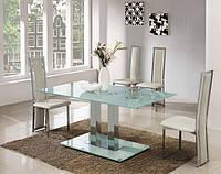 Стеклянный обеденный стол Аврора белый