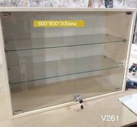 Навісна вітрина зі скляними полицями Модель V261