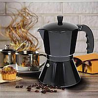 Гейзерна кавоварка на 6 чашок 300 мл з алюмінію Edenberg EB-1816 Гейзерна кавоварка для індукційної плити