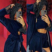 Жіноча велюрова піжама трійка: топ, шорти і халат з поясом