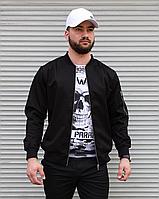 Весенняя мужская куртка бомбер черного цвета