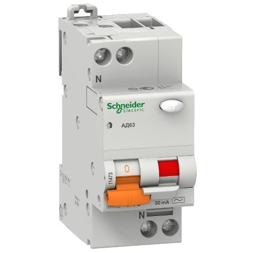 Дифавтомат Schneider Electric АД63 1+Np 25A 4,5kA 30mA C 11474