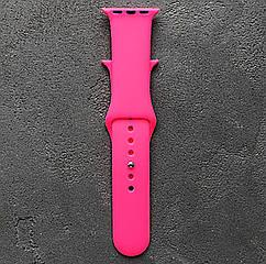 Ремешок для часов силиконовый, для смарт часов Apple Watch, аналогов Apple Watch 22 мм. Розовый