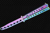 Нож бабочка тренировочный 520, учебный тупой детский нож балисонг безопасный для ребенка, радужный, не острый