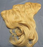 Накладка-шиньон 60 см на заколках из натуральных светлых волос