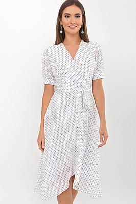 Летнее шифоновое платье на запах (белое в горошек)