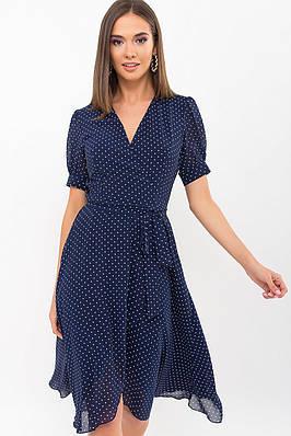 Летнее шифоновое платье на запах (синее в горошек)