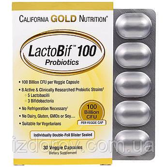 California Gold Nutrition, LactoBif Probiotic, пробиотики, 100 млрд КОЕ, 30 растительных капсул