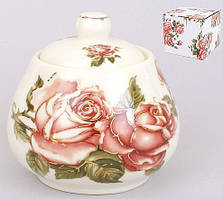 "Цукорниця Cream Rose ""Корейська Троянда"" 400мл, фарфорова"