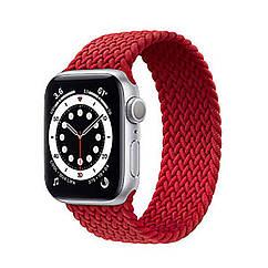Ремешок для часов Apple Watch 42/44 мм, аналогов Apple Watch. Плетеный монобраслет 22 мм. Красный