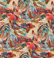 Декоративная ткань яркие петухи в стиле Ван Гога хлопок 280см 88060v1