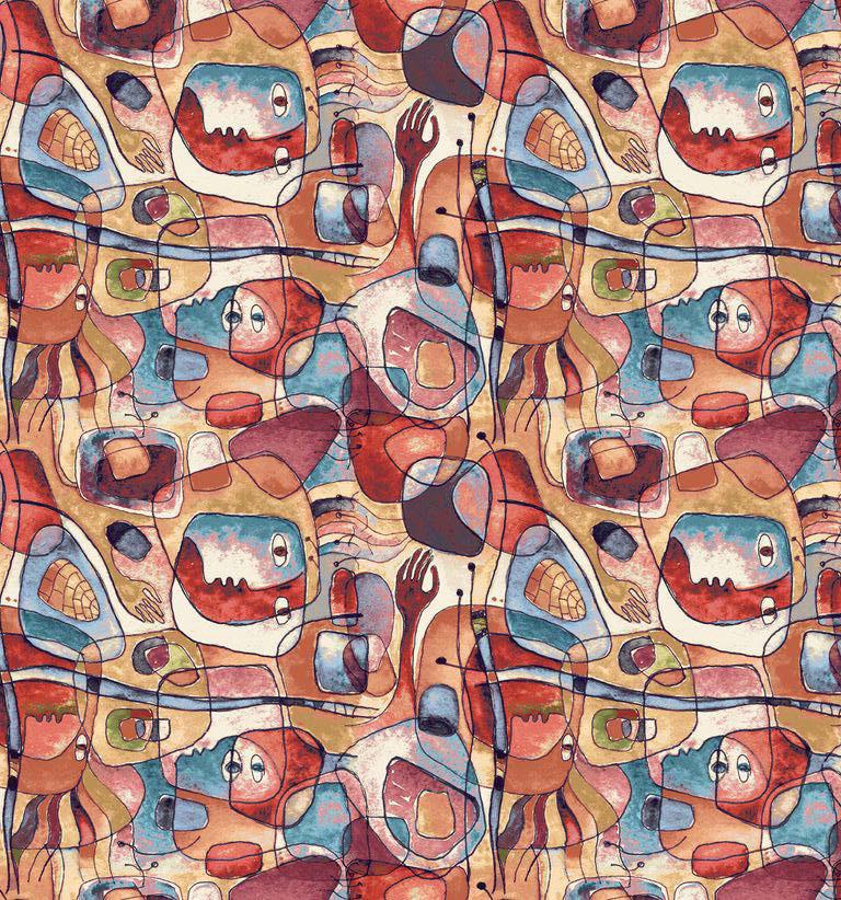 Декоративна тканина особи в стилі Пікассо на бавовні Іспанія 280см 88076v1