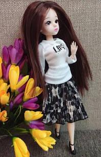 Шарнірна лялька Адель з довгим волоссям і скляними 3D очима + одяг і взуття(2 пари) в подарунок