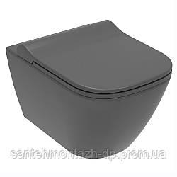 SOLO Rimless унитаз подвесной, сиденье твердое Slim slow-closing 51*35,5*33 см, цвет антрацит мат