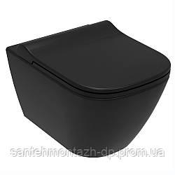 SOLO Rimless унитаз подвесной, сиденье твердое Slim slow-closing 51*35,5*33 см, цвет черный мат