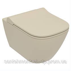 SOLO Rimless унитаз подвесной, сиденье твердое Slim slow-closing 51*35,5*33 см, цвет капучино мат