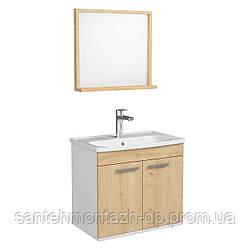 FIRST комплект мебели 60см, цвет дуб: тумба подвесная, 2 дверцы + зеркало прямоугол. 54*50см + умывальник