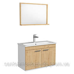 FIRST комплект мебели 80см, цвет дуб: тумба подвесная, 2 дверцы + зеркало прямоугол. 74*50см + умывальник