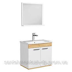 FIRST комплект мебели 60см, белый: тумба подвесная, 2 дверцы + зеркало прямоугол. 54*50см + умывальник