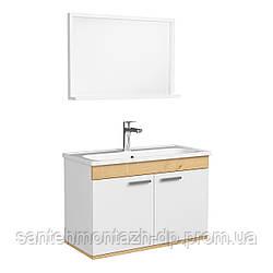 FIRST комплект мебели 80см, белый: тумба подвесная, 2 дверцы  + зеркало прямоугол. 74*50см + умывальник