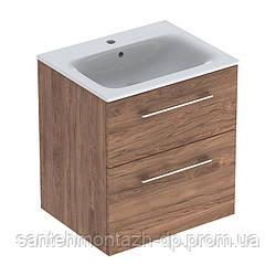 SELNOVA Square комплект: умывальник встроенный Slim Rim, с тумбой 58,8*50,2см, с 2мя ящиками, цвет тёмный орех