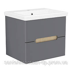 SOLO комплект мебели 60см antracita: тумба подвесная, 2 ящика + умывальник накладной арт 13-16-016