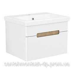 SOLO комплект мебели 60см blanco: тумба подвесная, 1 ящик + умывальник накладной арт 13-16-016