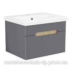 SOLO комплект мебели 60см antracita: тумба подвесная, 1 ящик + умывальник накладной арт 13-16-016