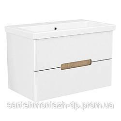 SOLO комплект мебели 80см blanco: тумба подвесная, 2 ящика + умывальник накладной арт 13-16-018