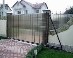 Ворота откатные, зашивка поликарбонат