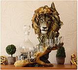 """Подарочный коньячный набор """"Голова льва"""" стеклянный графин и 6 стопок на подставке из полистоуна, фото 6"""