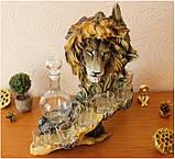 """Подарочный коньячный набор """"Голова льва"""" стеклянный графин и 6 стопок на подставке из полистоуна, фото 2"""