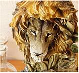 """Подарочный коньячный набор """"Голова льва"""" стеклянный графин и 6 стопок на подставке из полистоуна, фото 4"""