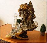 """Подарочный коньячный набор """"Голова льва"""" стеклянный графин и 6 стопок на подставке из полистоуна, фото 5"""