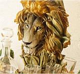 """Подарочный коньячный набор """"Голова льва"""" стеклянный графин и 6 стопок на подставке из полистоуна, фото 3"""