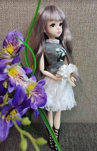 Шарнірна лялька Ліліана з довгим волоссям і скляними 3D очима + одяг і взуття(2 пари) в подарунок