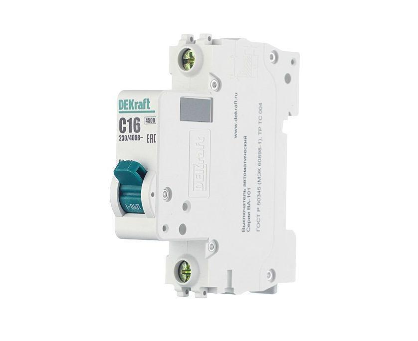 Автоматичний вимикач Dekraft ВА-101 1p 16A C 4,5kA 11054DEK