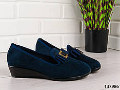 """Туфли женские, лоферы женские, балетки женские, мокасины женские синие """"Simfy"""", эко замша, повседневная обувь"""