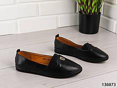 """Туфли женские, лоферы женские, балетки женские, мокасины женские черные """"Lauey"""", эко кожа, повседневная обувь"""