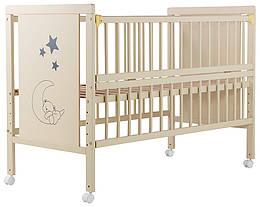 Кровать Babyroom Медвежонок, откидной бок, колеса DMOS-01 бук слоновая кость