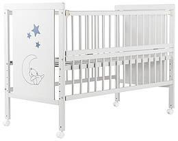 Кровать Babyroom Медвежонок, откидной бок, колеса DMOW-01 бук белый