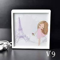 Ночной светильник в детскую Девочка в Париже (белый)