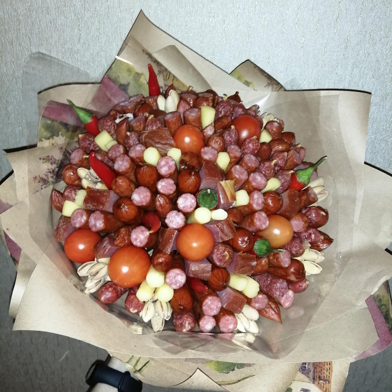 Мужской букет съедобный вкусный поздравительный подарочный безалкогольный Колбасный